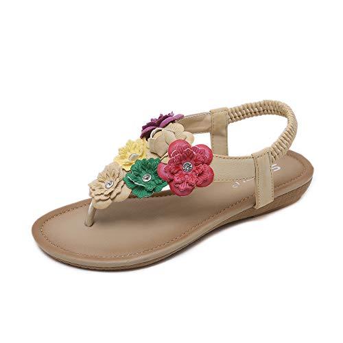 Chickwin Sandalias Mujer Verano, Cómodos Zapatos Flor Bohemias Las Sandalias Planas Tacon Elástica Tobillo Correa Zapatos de Playa Baño Fiesta Chanclas (EU35=225mm/8.86'',Albaricoque)