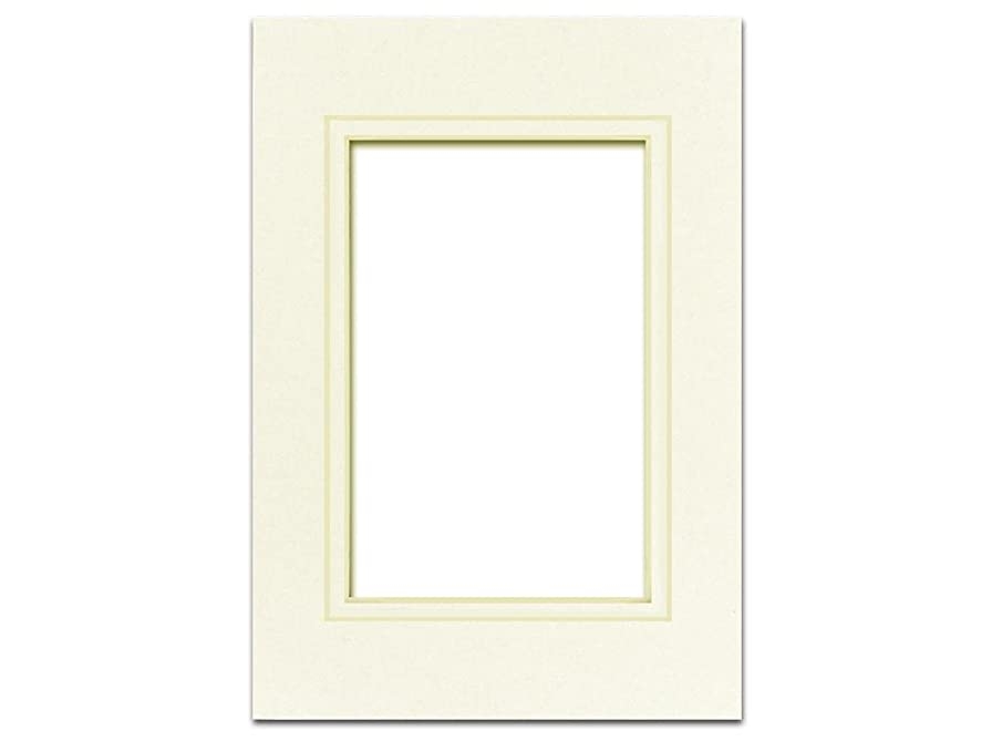 PA Framing, Double Mat, 5 x 7 Inches Frame for 3.5 x 5 Inches Photo Art Size - Cream Core/Ivory Upper and Inner Mat