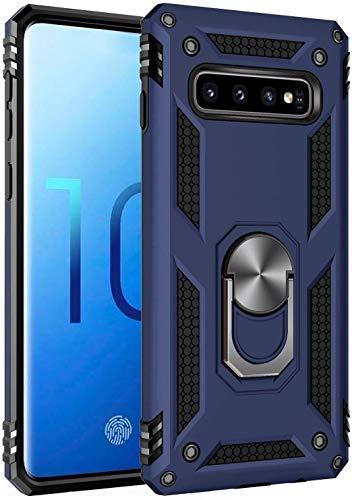 AFARER für Samsung Galaxy S10 Hülle Handyhülle 360 Grad Ringhalter Panzerhülle TPU+PC Cover Bumper Hülle Schutzhülle(Blau)
