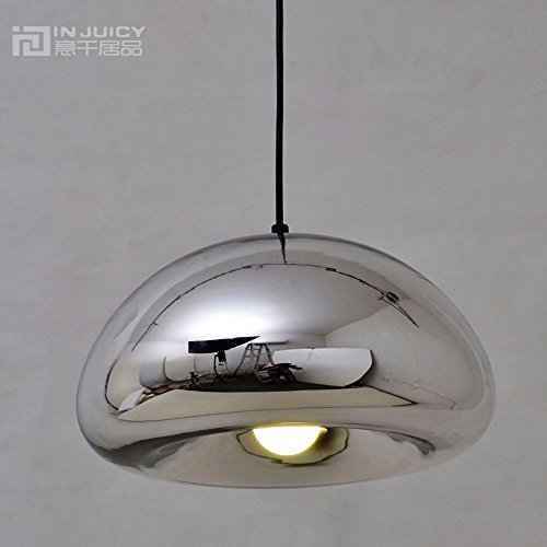 Injuicy vintage industriel d'éclairage en cuivre Laiton Bol en verre miroir Suspension abat-jour rétro LED Edison Lampes de Plafond pour chambre à coucher de cuisine Salon - Dia.150mm Silver