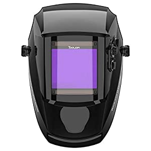 TOOLIOM 3.97x3.7 inch Large Viewing Welding Helmet True Color Welding Mask Solar Powered Auto Darkening Welding Hood with Delay Twilight Function for Mig Tig by TOOLIOM