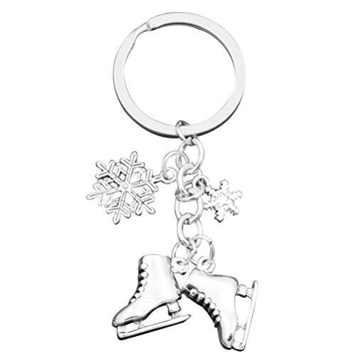 ABOOFAN - Pattini portachiavi a forma di fiocco di neve per pattinaggio su ghiaccio, per danza su ghiaccio, portachiavi, per allenamento di pattinaggio, regalo per amanti di pattinaggio