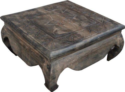 Guru-Shop Tables à Opium, Table Basse, Table D`appoint, Table Basse, Sculptée, Boisdebalsa, Taille : 60x60 cm, Tables Basses Tables de sol