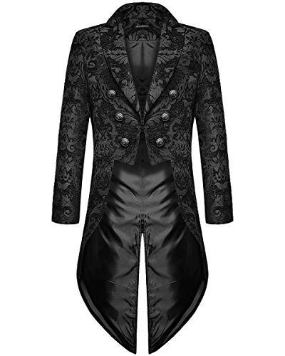 Devil Fashion Hommes Gothique Steampunk Queue de Pie Veste Noir Brocart Damas Mariage Régence Aristocrat - Noir, L
