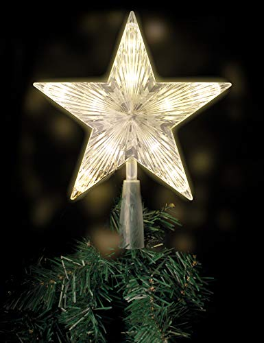BigDean LED Weihnachtsbaumspitze Stern - mit 10 LEDs warmweiß beleuchtet 21x18cm - Christbaumspitze Weihnachtsbaum-Deko Tannenbaumspitze Weihnachtsbaumstern