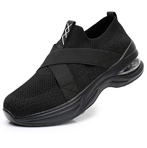Axcone Womens Walking Shoes Slip on Sock Sneakers Lady Girls Nurse Mesh Air Cushion Platform Loafers Fashion Casual Black 8.5