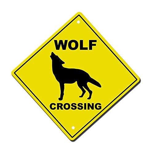 Dozili Aluminium Kreuz Schild Wolf Crossing Style M Metall Neuheit Schild 30,5 x 30,5 cm
