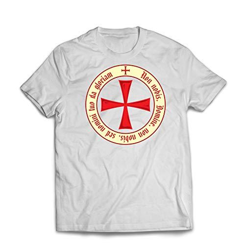 lepni.me Camisetas Hombre El Código de los Templarios Orden de Caballero Cristiano, Cruz del Cruzado (XX-Large Blanco