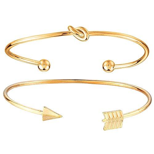 Onefeart Vergoldet Armband Bangle Für Frauen Mädchen Pfeil Gestalten Offener Armreif 2Pcs/Set Gold Damen Stil
