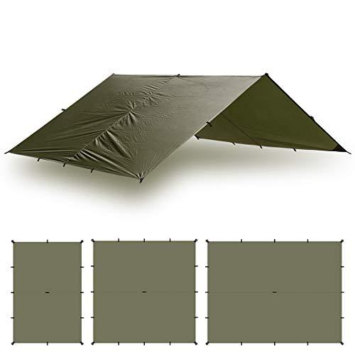 Aqua Quest Guide Bâche Carrée 3 x 3 m Olive - Abri de Randonnée Ultra-léger et Imperméable en Ripstop Sil Nylon pour Camping Tente - Parfait pour Le Hamac