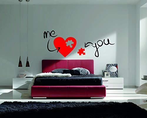 Wall Art Yo + mij de perfecte puzzel stuk van mijn hart Valentijnsdag citaat - muursticker voor thuis slaapkamer woonkamer (482) gemakkelijk aan te brengen