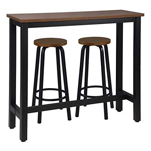 WOLTU Set Mesa de Bar y 2 uds. Taburete de Bar Muebles Cocina Mesa de Bistro Silla de Comedor para Salon Estructura de Metal, MDF 120x40x100cm Haya Oscura BT17dc+BH237dc-2