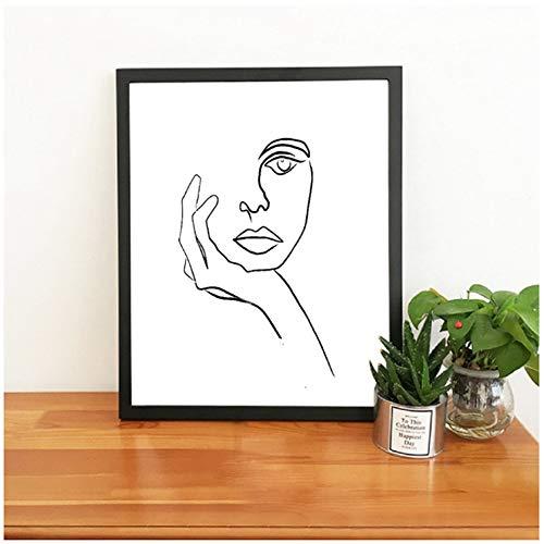 nr The Thinker Print Picasso Strichzeichnung Modernes Poster Minimalistische Gesichtskunst Skizze Schwarz Weiß Home Wandkunst Dekor Leinwand Malerei-50x70cm Kein Rahmen