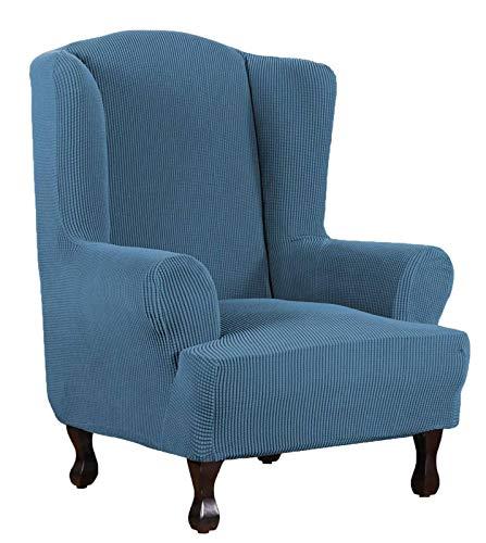 1 Stück Sesselbezug Dauerhaft Husse Für Ohrensessel Spandex Jacquard Kariertes Muster, Super Soft Slipcover Maschinenwaschbar-Blau