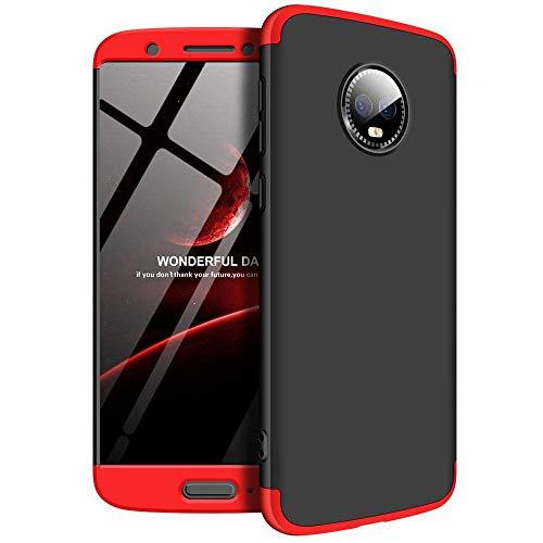 Funda Moto G6 Carcasa 360° Protección 3-en-1 Desmontable Diseño Fundas Hard PC Case Ultra Delgado Anti-Arañazos Choque Absorción Estuche para Motorola Moto G6 Plus 2018 (Moto G6, Negro+Rojo)