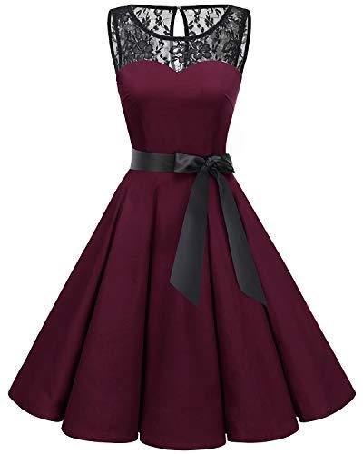bbonlinedress 1950er Ärmellos Vintage Retro Spitzenkleid Rundhals Abendkleid Burgundy 3XL