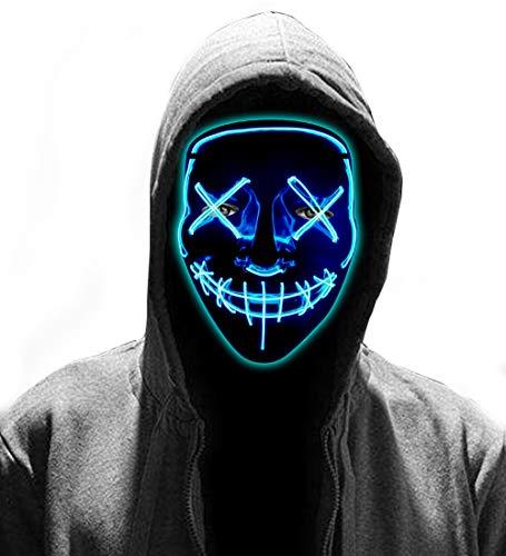 LED Halloween Mask - Glowing Light Up Mask Purge Mask for Men Women Carnival MasqueradeCosplay Blue