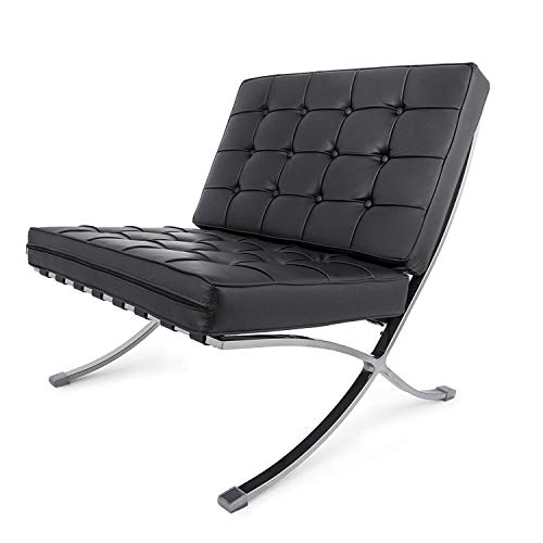FlowerW Retro Chair Barcelona Stil Lounge Chair PU Leder Komfortable Chair Chaise Lounge Chair für...