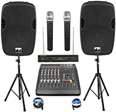 """Complete Professional 2000 Watts Complete PA System 6 Ch Mixer 10\\"""" Speakers Dual Wireless Mics Stand"""