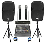 Complete Professional 2000 Watts Complete PA System 6 Ch Mixer 10' Speakers Dual Wireless Mics Stand