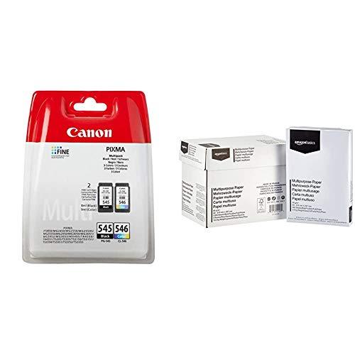 Canon PG-545/CL-546 Multi pack SEC Cartouche d'encre & AmazonBasics Papier multiusage A4 80gsm, 5x500 feuilles, blanc