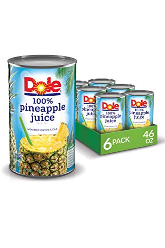 Dole 100% Juice, Pineapple, 46 Ounce Cans (Pack of 6)