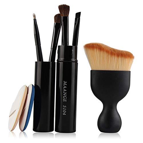 6 In 1 Cosmetic Set Pro Eye Lip Makeup Brush Set Foundation Brush Powder Puff Sponge Makeup Brushes Set Tool