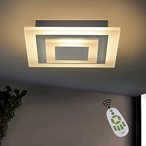 ZMH LED Deckenleuchte Wohnzimmer Dimmbar stufenlos mit Fernbedienung 23W 30cm quadratisch Deckenlampe Bürodeckenleuchten für Wohnzimmer, Schlafzimmer, Küche Nickel Matt