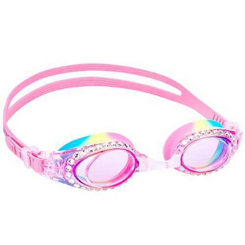 Yuenree Kids Swimming Goggles - Sparkle Swim Goggles for Kids Girls 3-14 - No Leak, Anti-Fog, UV Protection, Easy to Adjust and Non Slip - with Free Premium Protection Box - Light Pink