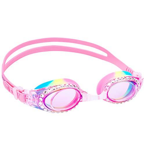 Yuenree Girls Goggles Swimming Kids - Bling Swim Goggles for Girls 3-14 - No Leak, Anti-Fog, UV...