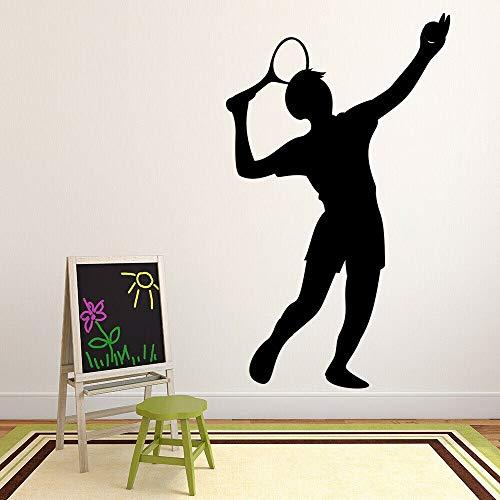 Jugador de tenis calcomanía de pared silueta de niño juego de deportes pelota pegatina de ventana microscópica dormitorio adolescente estadio decoración de interiores mural