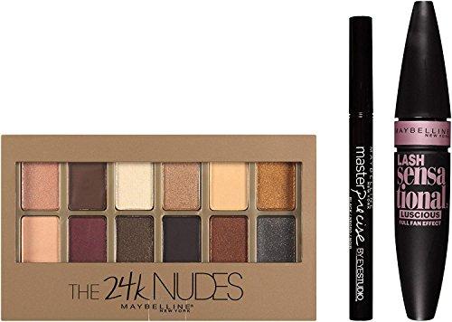 Maybelline New York Ny Minute Mascara Smoky Eye Makeup Gift Set, 24k Smoky Eye