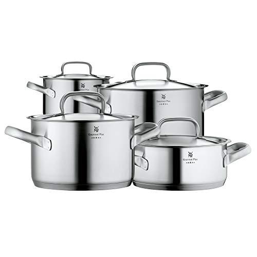 WMF Gourmet Plus Topfset Induktion 4-teilig, Kochtopf Set mit Metalldeckel, Cromargan Edelstahl mattiert, Töpfe Set unbeschichtet, Innenskalierung