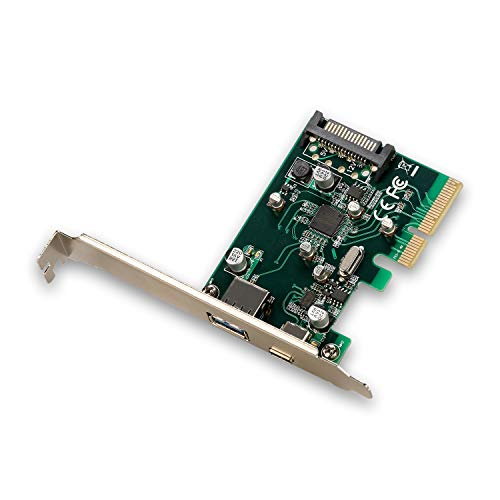 i-tec PCE2U31AC PCI-E USB 3.1 (2G) 10 Gbps Card, Adapter auf 1x externes USB-A und USB-C 1x zusätzlichen Versorgungsstecker SATA 15polig Silber