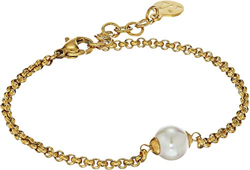 Majorica 8 mm White Round Pearl On Gold Plate Steel Chain Link Bracelet, 7.5-8.5