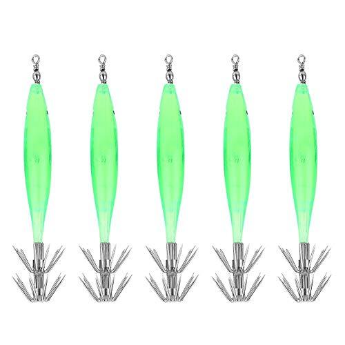 Poisson Lure Bait, 5 Pcs 3D Lumineux Dur Calmar Jig...