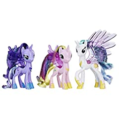 3 PONIES IN 1 PACK: The 3 My Little Pony dolls in this set includes Princess Celestia, Princess Luna, and Princess Cadance – 3 popular ponies from the My Little Pony Friendship is Magic television show GLITTER PONY DOLLS: These 3-inch princess pony t...