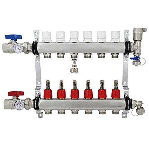 6 Port Stainless Steel PEX Heating Manifold w/PEX...