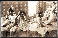 ポスター ジョン バション Hot Summer in the City 1940 額装品 アルミ製ハイグレードフレーム(ブラック)