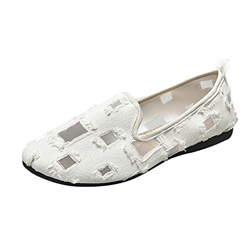 Fullwei Women Slip On Shoes Round Toe Flat Ladies Cute Casual Lace Boat Shoes Breathable Lightweight Dressy Wide Shoes (White  8)