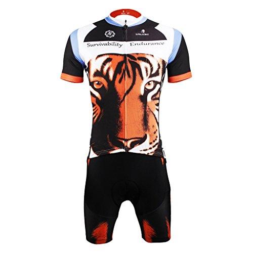 PaladinSport Women's Tiger Pattern Quality Breathable Short Sleeve Mountain Bike Clothing Shorts Set Size 4XL