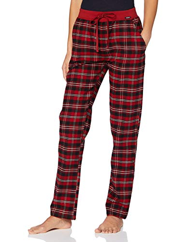 Skiny Damen Hose lang Pyjamaunterteil, red Check, 38