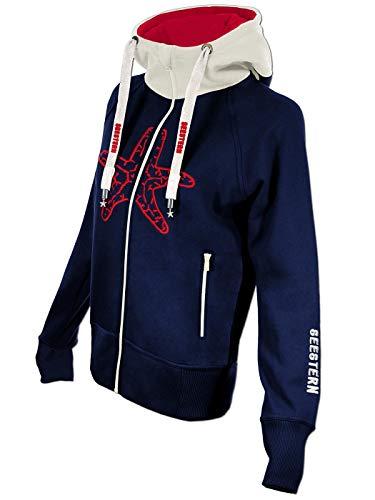 SEESTERN Damen Kapuzen Sweat Shirt Jacke Pullover Zip Hoody Sweater Gr.XS-XXL /1522 Navy_Weiß_Rot S
