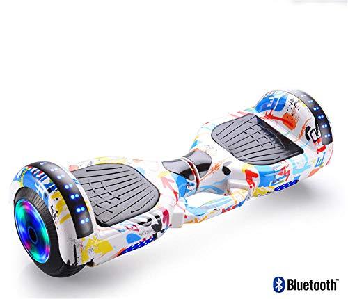 Nowsend Regalo de cumpleaños al Aire Libre de Equilibrio eléctrico Hoverboard de 9 Pulgadas para niños-Graffiti Flash Wheel_Carcasa de aleación de Aluminio de 9 Pulgadas