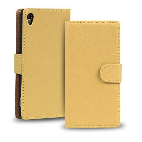 Verco Xperia Z3 Plus Hülle, Handyhülle für Sony Xperia Z3+ Tasche PU Leder Flip Case Brieftasche - Beige