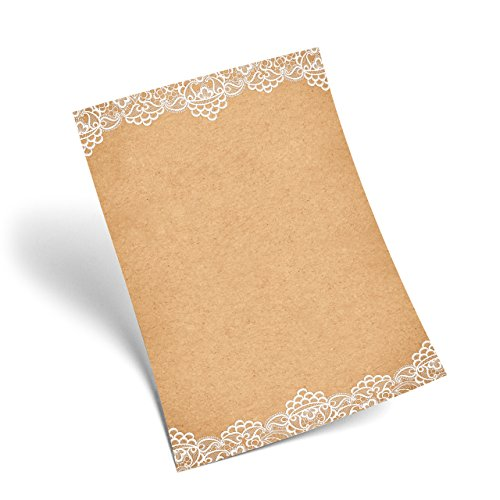 Logbuch-Verlag 25 Blatt Briefpapier vintage SPITZE alt edel Papier DIN A4 antik weiß braun natürlich Bastelpapier Weihnachten Hochzeit Fest Feier Einladung Brief schreiben