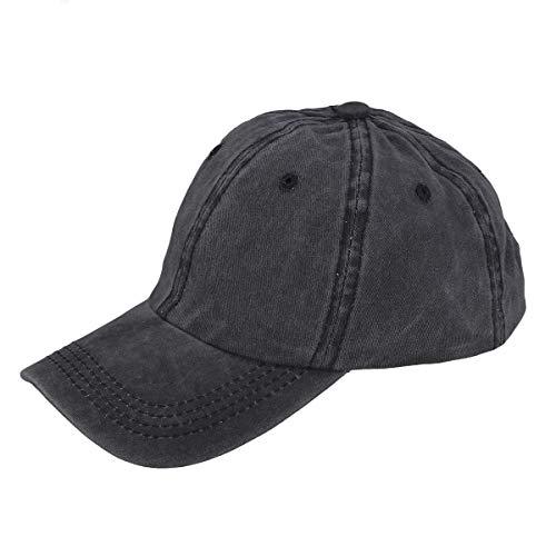 LIOOBO Denim Baseball Cap Schwarz Baseball Cap Retro Blank Baseball Mütze Peak Cap für Frauen Männer (Schwarz)