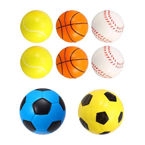 TOYANDONA Palline Sportive in Schiuma per Bambini 8 Pezzi di Giocattoli Leggeri per Palline Antistress in PU Inclusi 2. 4 Tennis 2. 4 Pallacanestro 2. 4 Baseball E 3. 9 Calcio per Giochi