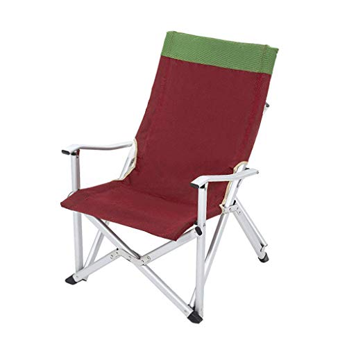 SMEJS Camping Chair Folding Heavy Duty with Adjustable Reclining Padded Back and Legs Supports, Armrest, Outdoor, Fishing, Garden (Size : L)