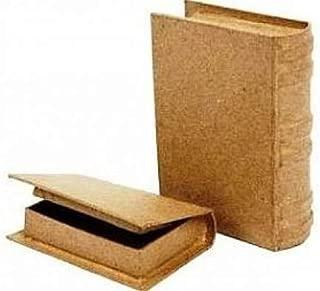 2 Mini Book Shape Paper Mache Boxes - 6x9x2cm & 8x11x2.5cm   Papier Mache Boxes